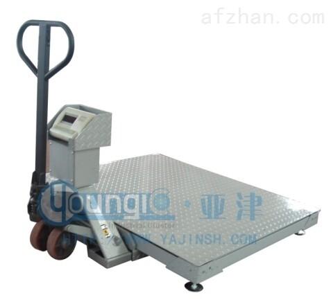上海亚津带叉车1T移动式地磅