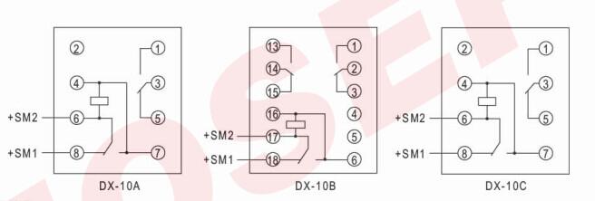 接线使用说明: 继电器与发光二极管信号灯配用时,如图(1)接线(b型