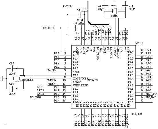 MSP430具有丰富的片上外围模块,片内有精密硬件乘法器、两个16位定时器、一个14路的12位的模数转换器、一个看门狗、6路P口、两路USART通信端口、一个比较器、一个DCO内部振荡器和两个外部时钟,支持8MHz的时钟。因为是FLASH型,则可以在线对单片机进行调试和下载,且JTAG口直接和FET(FLASHEMULATIONTOOL)的相连,不须另外的仿真工具,方便实用,而且,可以在超低功耗模式下工作,对环境和人体的辐射小,测量结果为100mw左右的功耗(电流为14mA左右),可靠性能好,加强