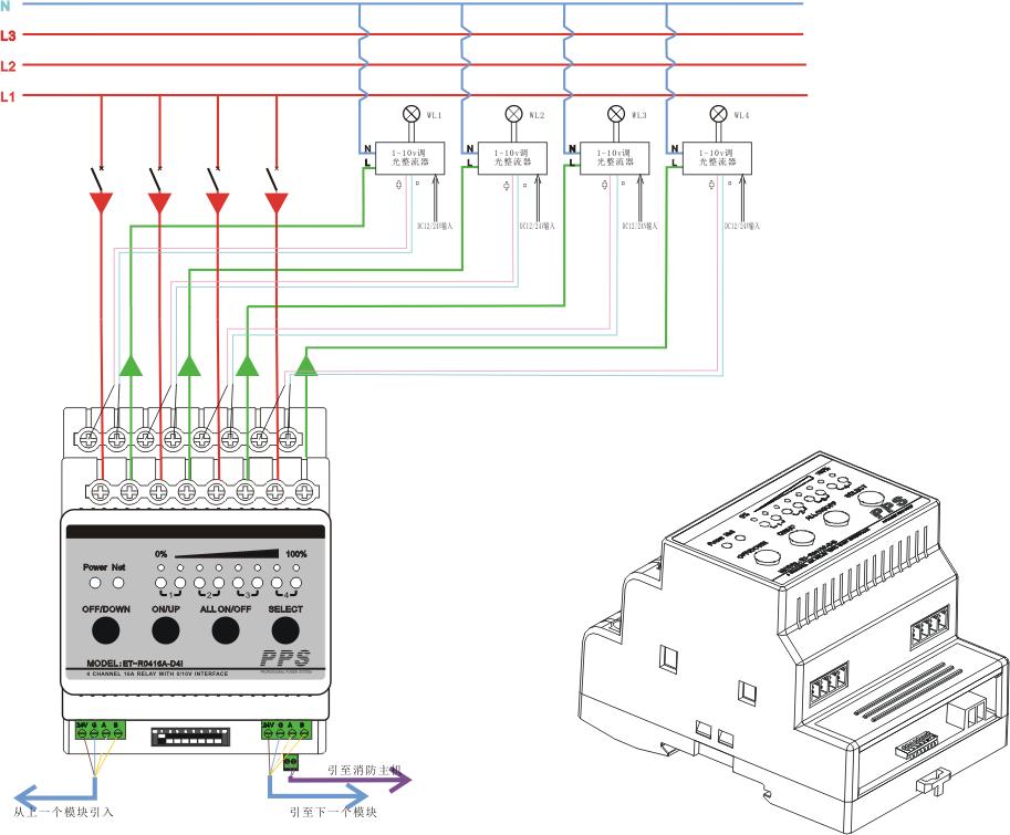 et-r0416a-d4i4路16a继电器开关带4路0-10v调光信号接口总线智能照明